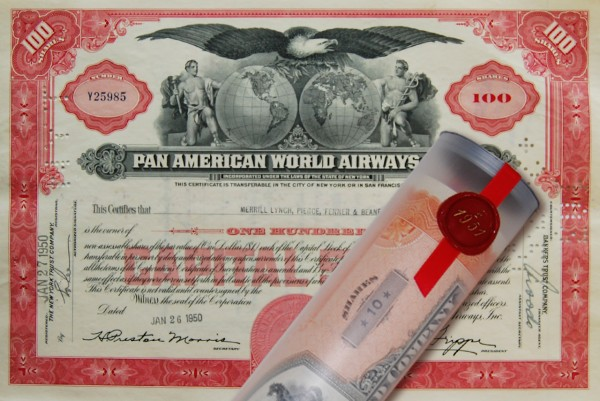 Aktie 1950 PAN AMERICAN AIRWAYS in Geschenkrolle