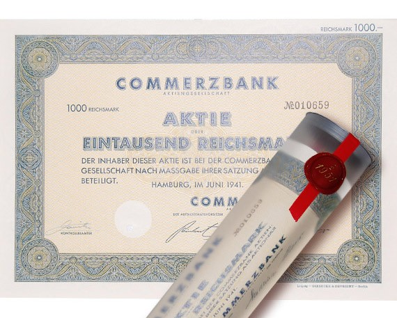 Aktie 1941 COMMERZBANK in edler Geschenkrolle