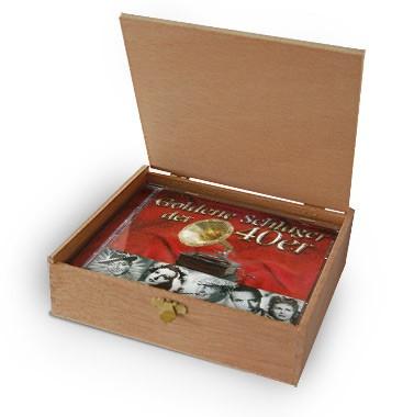 CD der 40er Jahre Schlager in Holzkiste mit Banderole