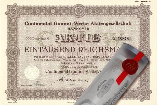 Aktie 1941 CONTINENTAL AG in erlesener Geschenkrolle