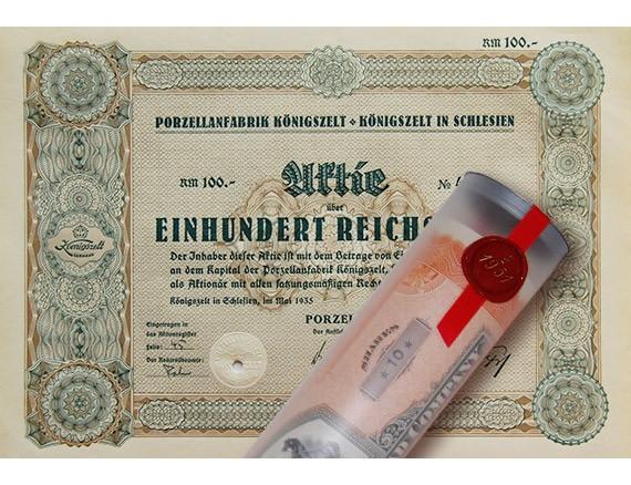 Aktie 1935 PORZELLANFABRIK SCHLESIEN in Geschenkrolle