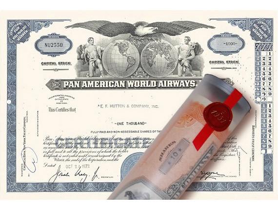 Aktie 1972 PAN AMERICA AIRWAYS in Geschenkrolle