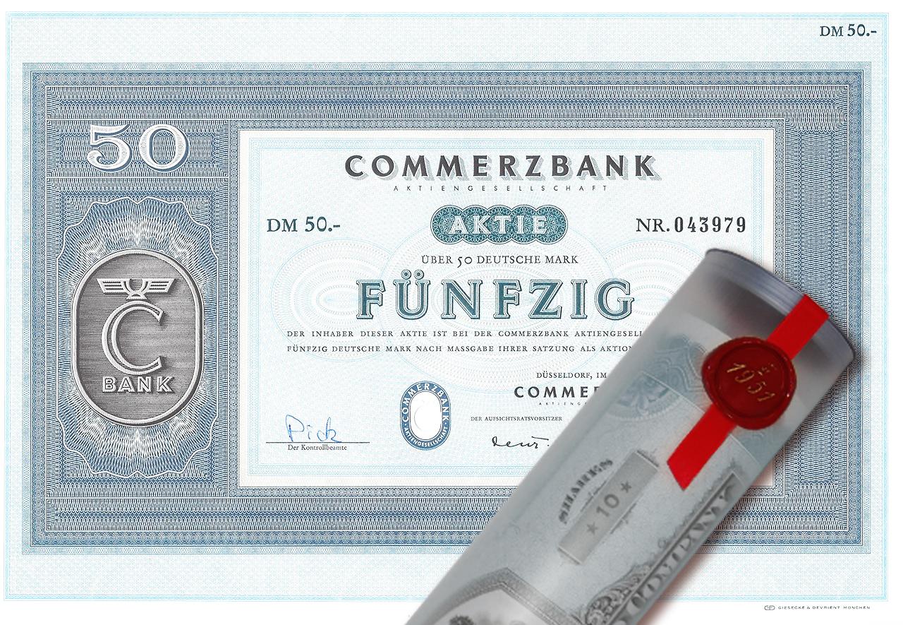 Geschenkidee Aktie 1967 merzbank in Geschenkrolle