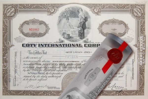 Aktie 1945 COTY Parfüm in erlesener Geschenkrolle