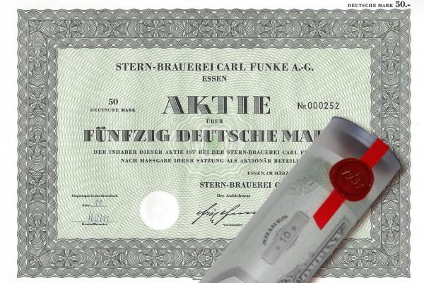 Aktie 1969 Stern Brauerei Funke in Geschenkrolle