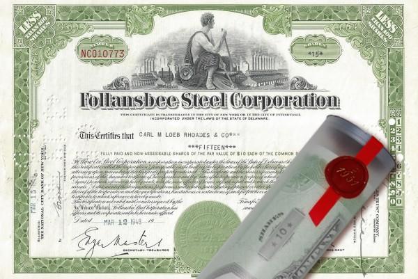 Aktie 1948 Follansbee Steel in edler Geschenkrolle