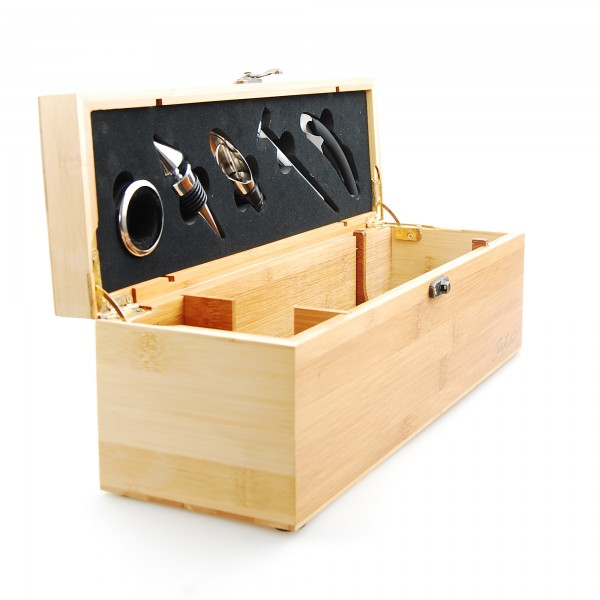 Holzbox für 1 Flasche Wein inklusive Sommelier Set