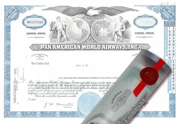 Aktie 1977 PAN AMERICA AIRWAYS in Geschenkrolle