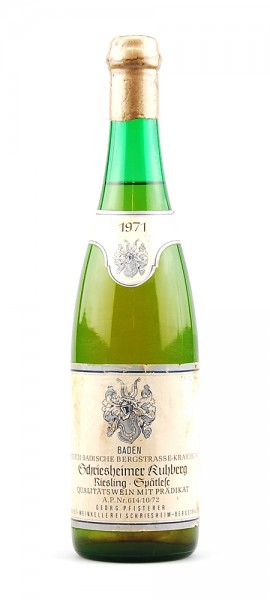 Wein 1971 Schriesheimer Kuhberg Riesling Spätlese