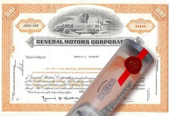 Aktie 1966 GENERAL MOTORS COOPERATION in Geschenkrolle
