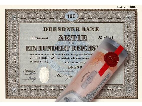 Aktie 1952 DRESDNER BANK in erlesener Geschenkrolle