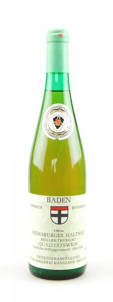 Wein 1981 Mersburger Haltnau Müller-Thurgau