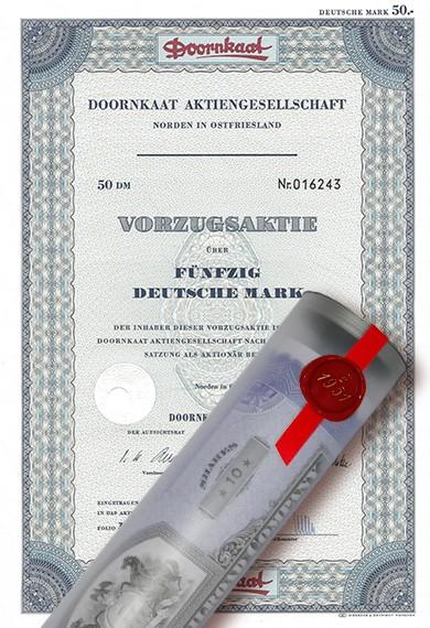 Aktie 1966 DOORNKAAT AG in edler Geschenkrolle