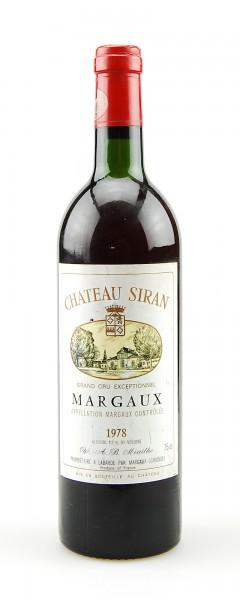 Wein 1978 Chateau Siran Grand Cru Margaux