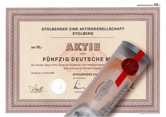 Aktie 1982 STOLBERGER ZINK in edler Geschenkrolle