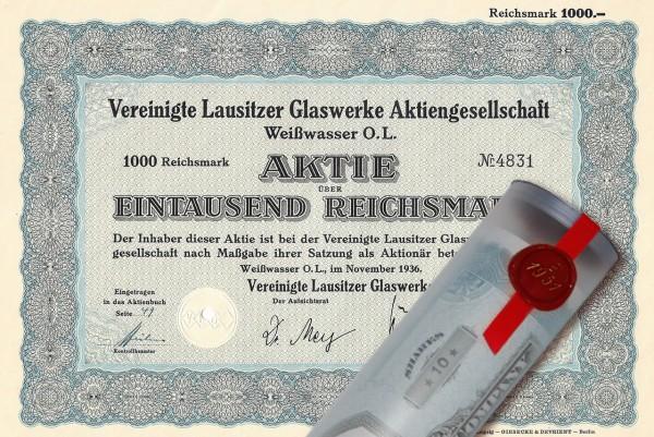 Aktie 1936 Glaswerke LAUSITZ in edler Geschenkrolle