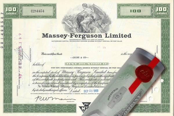 Aktie 1969 Massey-Ferguson in Geschenkrolle