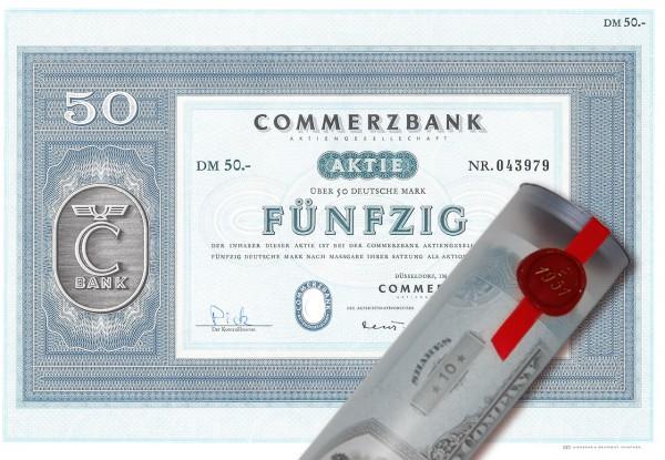 Aktie 1967 COMMERZBANK in edler Geschenkrolle