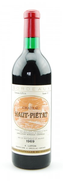 Wein 1969 Chateau Haut-Pietat Appelation Bordeaux
