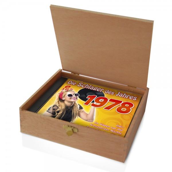 CD 1978 Schlager in Holzkiste mit Banderole und Siegel