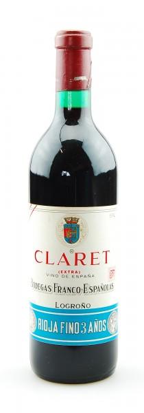 Wein 1972 Claret Extra Rioja Fino 3 anos