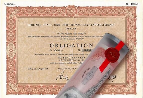 Aktie 1956 BEWAG Obligation in edler Geschenkrolle