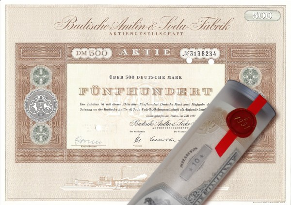 Aktie 1957 BADISCHE ANILIN SODA BASF in Geschenkrolle