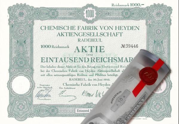 Aktie 1942 Chemie Fabrik von Heyden in Geschenkrolle