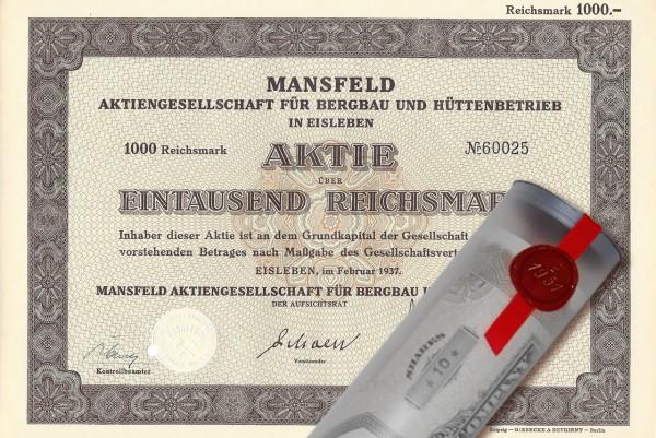 Aktie 1937 Mansfeld AG in edler Geschenkrolle