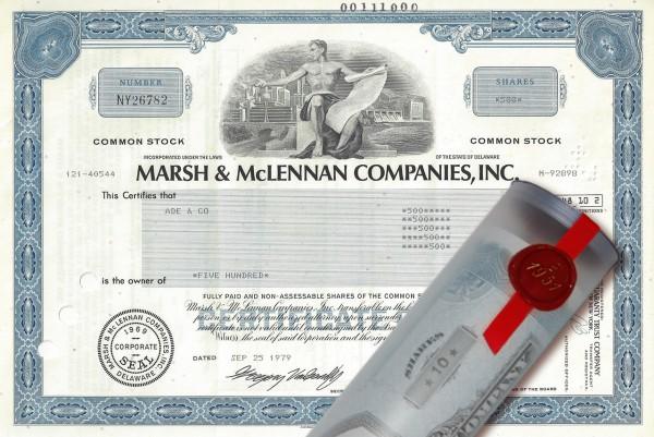 Aktie 1979 Marsh & McLennan in edler Geschenkrolle