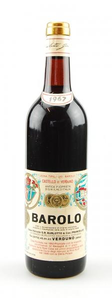 Wein 1967 Barolo Burlotto Castello di Verduno