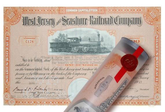 Aktie 1949 WEST JERSEY RAILROAD in Geschenkrolle