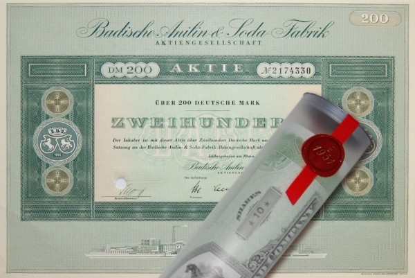 Aktie 1955 BADISCHE ANILIN SODA BASF in Geschenkrolle