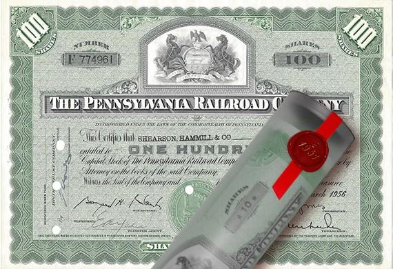 Aktie 1956 PENNSYLVANIA RAILROAD in Geschenkrolle
