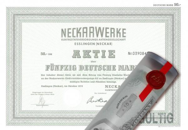 Aktie 1972 NECKARWERKE Esslingen in Geschenkrolle